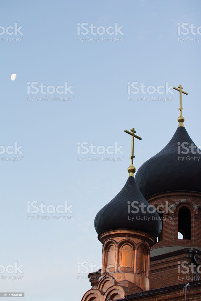 Bell tower of old believer orthodox church at early winter stock photo