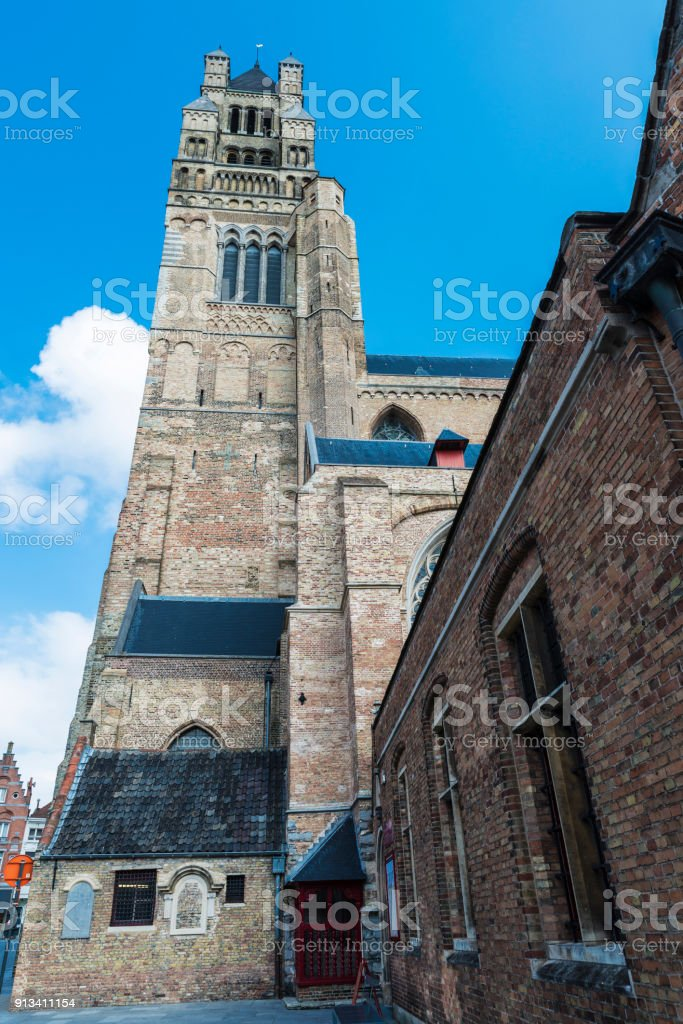 Bell tower of Saint-Salvator Cathedral in Bruges, Belgium stock photo