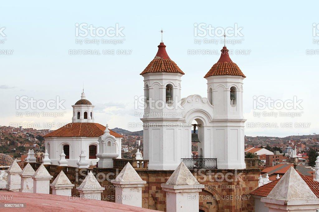 Bell Tower of San Felipe Neri Monastery, Sucre, Bolivia stock photo