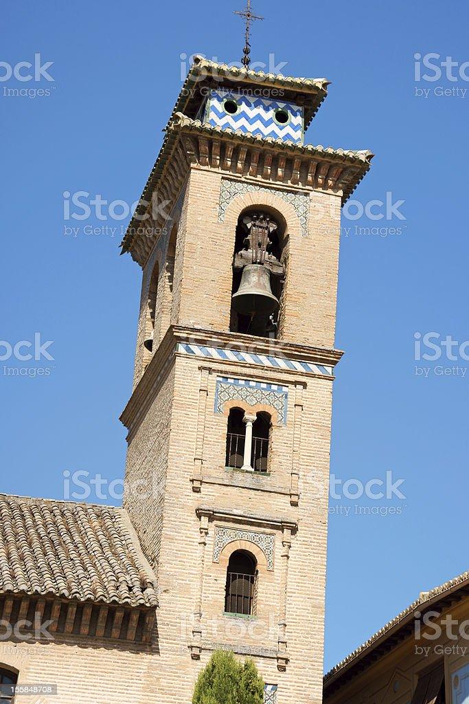 Bell tower of San Gil y Santa Ana Church stock photo