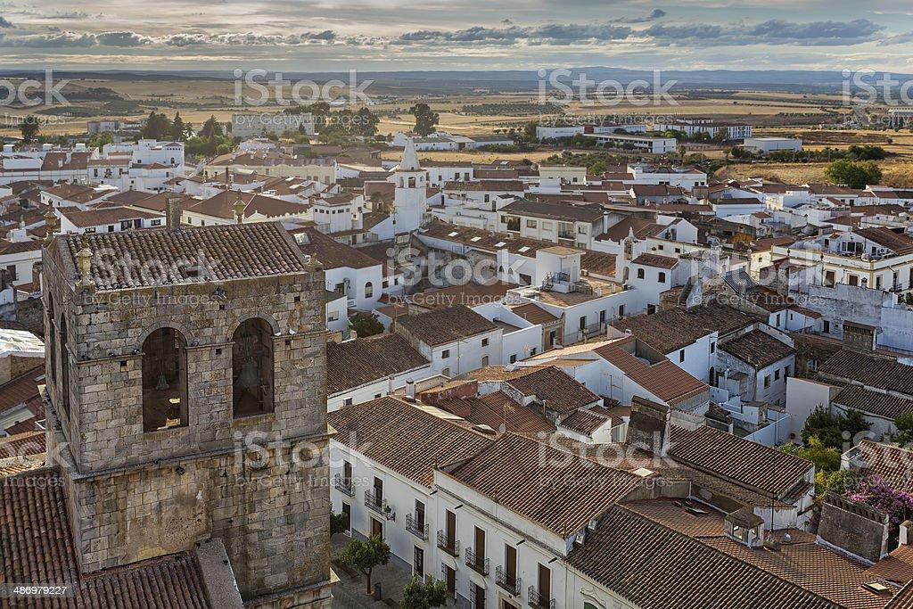 Bell Tower of Santa Maria del Castillo in Olivenza stock photo