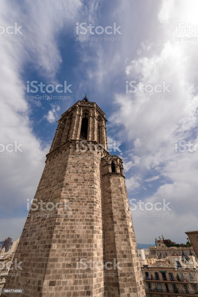 Bell Tower of the Barcelona Cathedral - Spain royalty-free stock photo