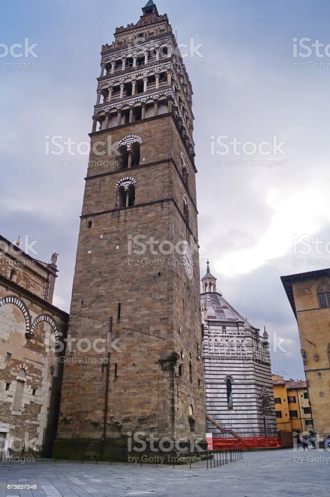 Bell tower of the Cathedral of Saint Zeno, Pistoia royalty-free stock photo