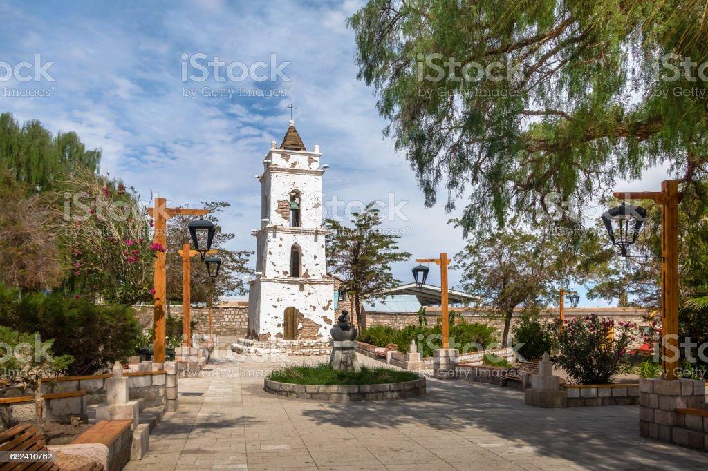 Bell Tower of the Church (Campanario de San Lucas) at Toconao Village Main Square - Toconao, Atacama Desert, Chile. stock photo