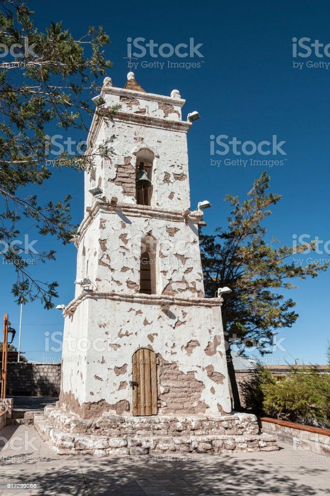 Bell Tower of the Church (Campanario de San Lucas) at Toconao Village Main Square - Toconao, Atacama Desert, Chile - South America stock photo