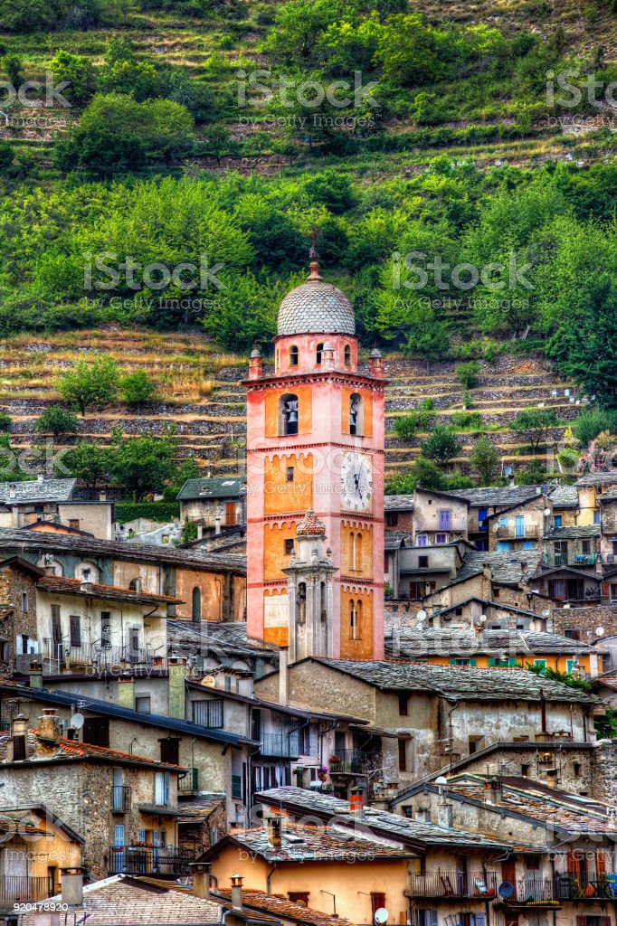 Bell Tower of the Church in Tende, Alpes-Maritimes, Provence, France stock photo