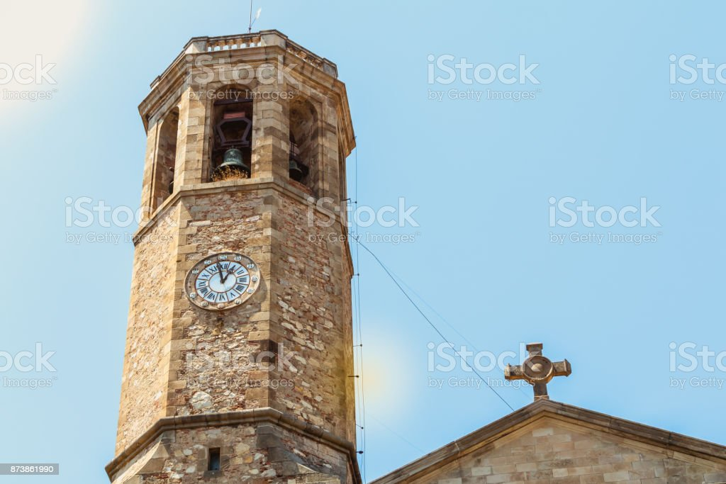Bell tower of the church of Saint Vincent de Sarria, Barcelona stock photo
