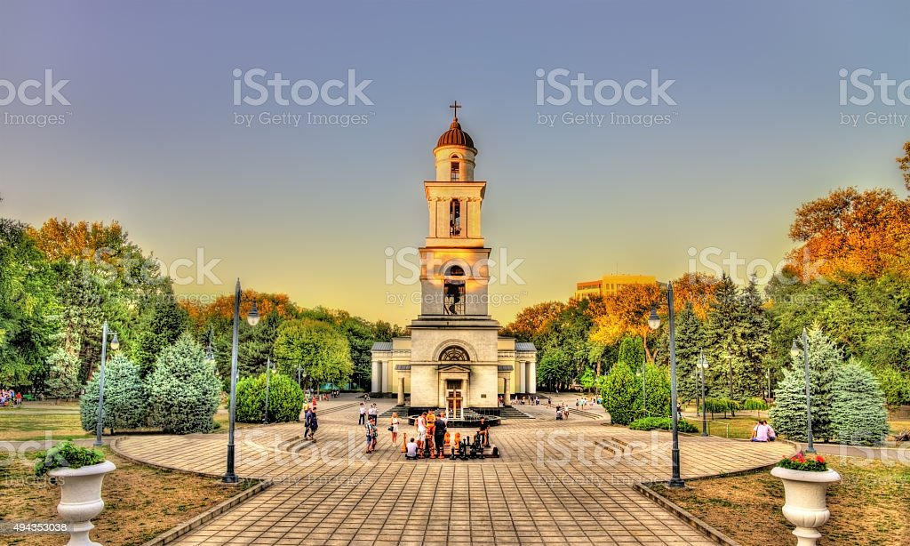 Bell tower of the Nativity Cathedral in Chisinau - Moldova stock photo