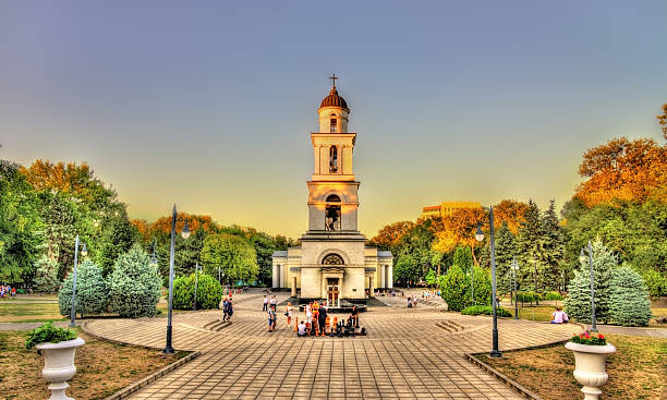 bell tower of the nativity cathedral in chisinau - moldova - moldova stock pictures, royalty-free photos & images