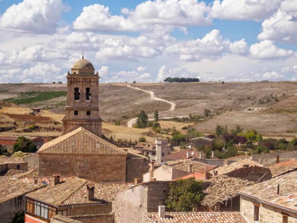 Bell tower of the parish church - Hontanas stock photo