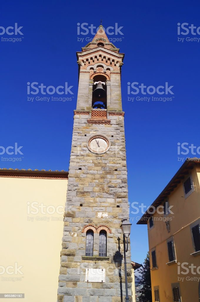 Bell tower of the Pieve di San Lorenzo, Piantravigne, Tuscany royalty-free stock photo