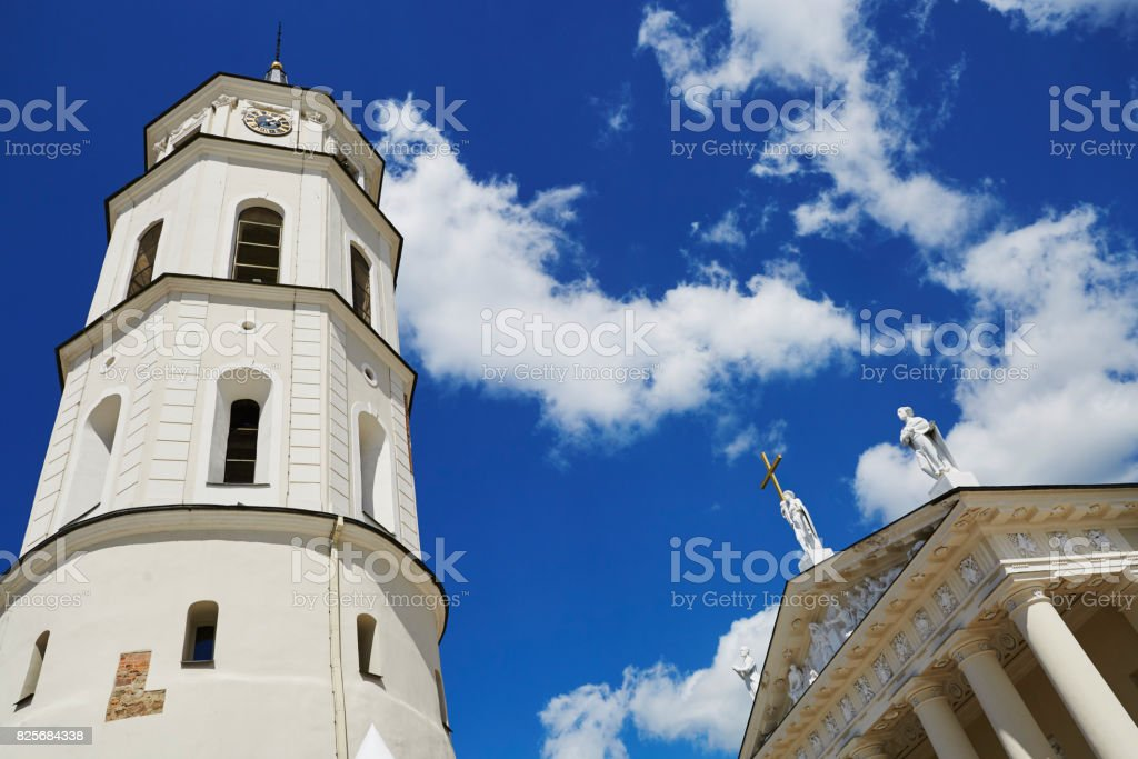 Bell tower of Vilnius cathedral over the blue sky stock photo