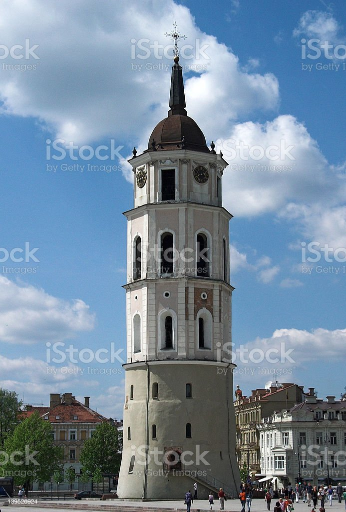 Bell tower of Vilnius Cathedral royalty-free stock photo