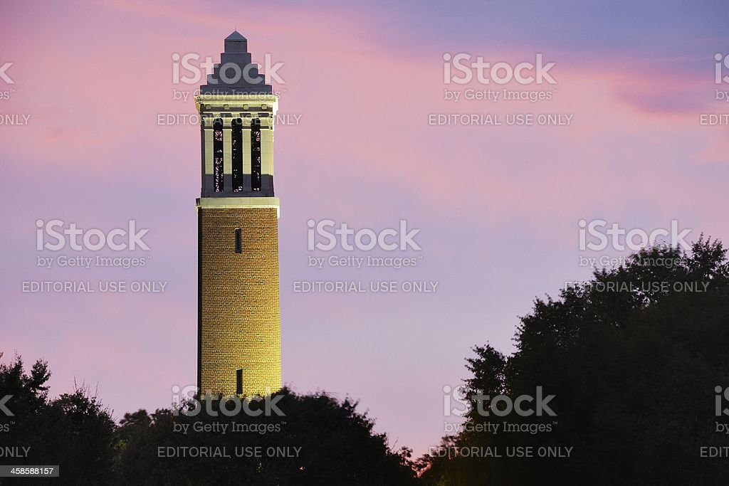Bell Tower on Alabama Campus after storm stock photo