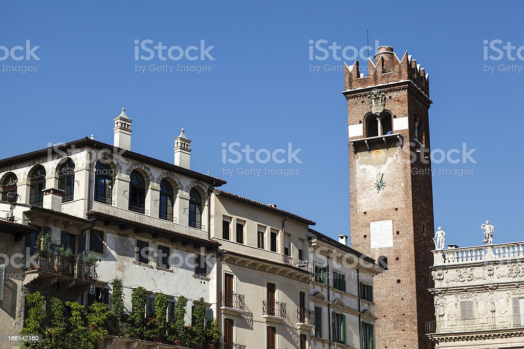 Bell Tower on Piazza delle Erbe in Verona, Veneto, Italy royalty-free stock photo