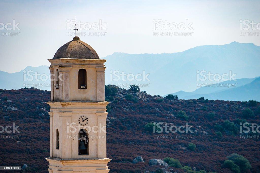 Bell tower... Sant'Antonino Corse France stock photo