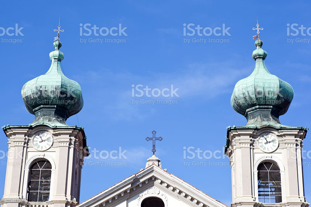 Bell tower, St. Ignatius church in Gorizia stock photo