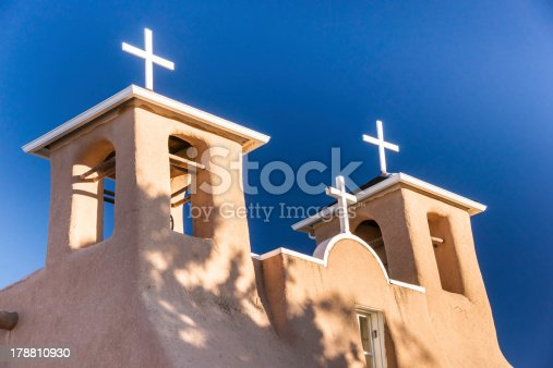 Bell tower at the church of St. Francis of Assisi in Taos, New Mexico made famous by Ansel Adams