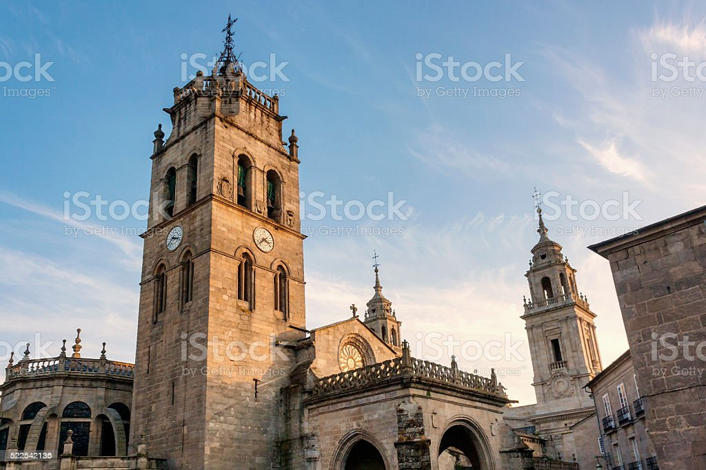 Bell towers of Lugo cathedral stock photo