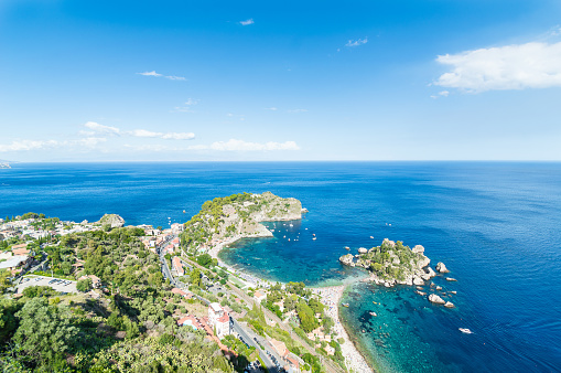 A top view from Taormina of the beautiful island named \