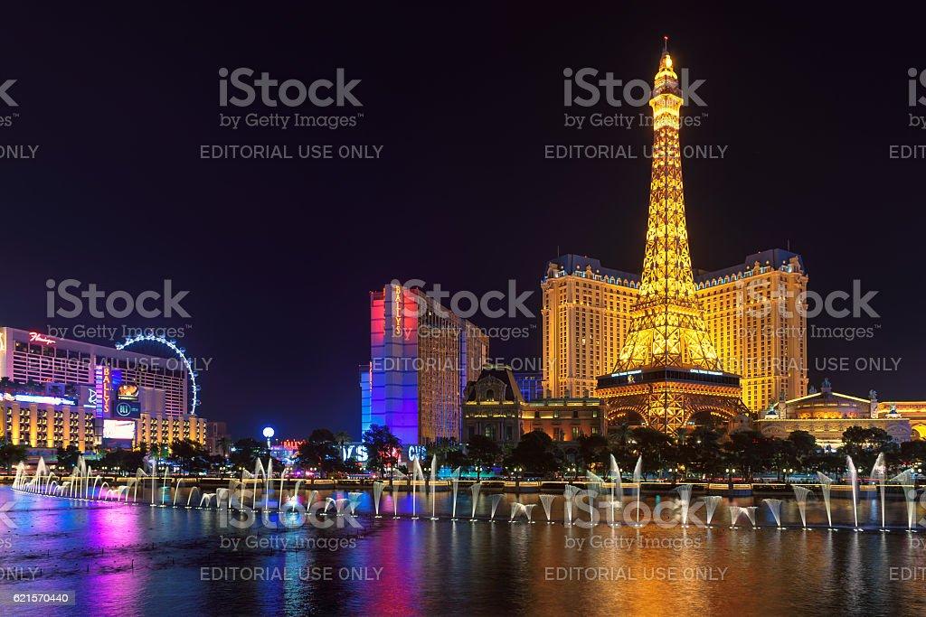 Bellagio fountain show at Paris hotel and casino photo libre de droits