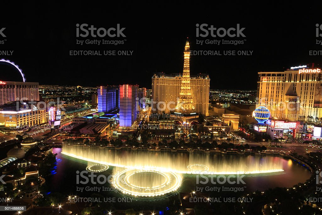 Bellagio Fountains and Strip resorts of Las Vegas stock photo