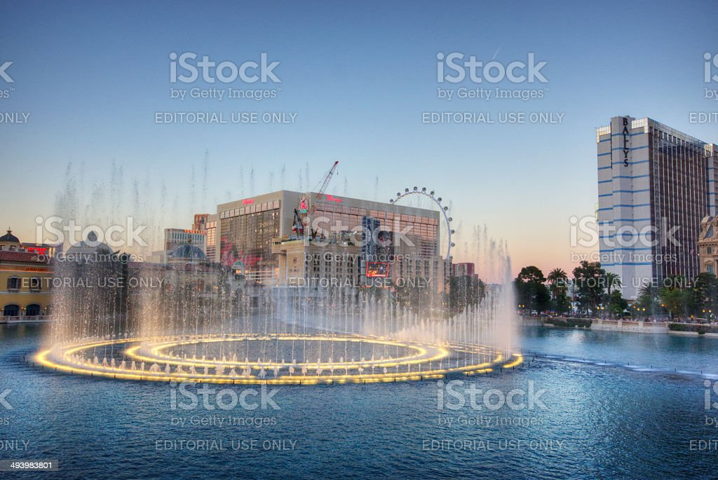 Bellagio fountains stock photo