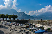 Bellagio boat landing harbor on Lake Como, Italy.