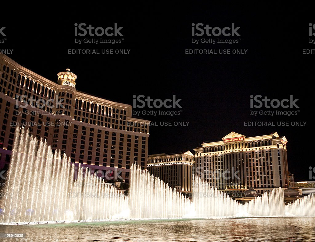 Bellagio Hotel and Casino Nighttime stock photo
