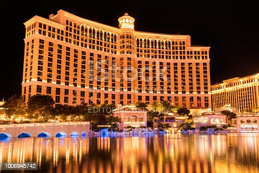 Bellagio - major luxury resort casino in the heart of Las Vegas at dusk. Bellagio is famed for its elegance and the Fountains of Bellagio - a large dancing water fountain synchronized to music. It's located between Caesar's Palace and Cosmopolitan on Las Vegas Strip.