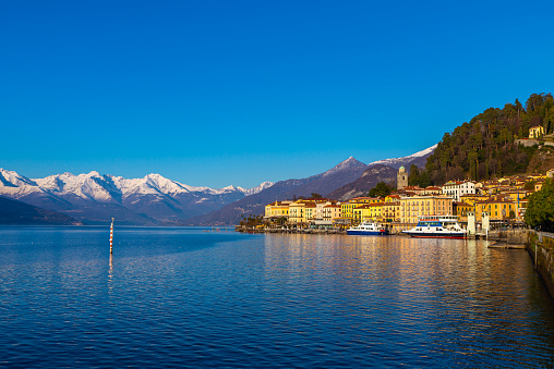 The town of Bellagio, on Lake Como, photographed on a winter day.