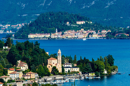The town of Bellagio, on Lake Como, photographed on a summer day.