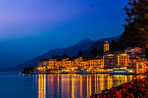 The village of Bellagio, on Lake Como, on a summer night.