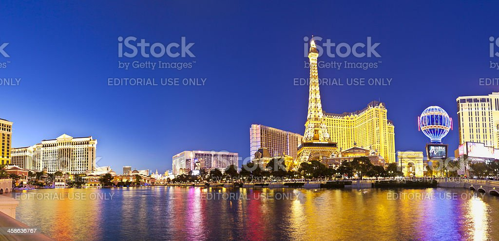 Bellagio, Paris and Bally's, Las Vegas, Nevada. stock photo