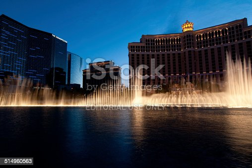 Las Vegas, USA - May 25, 2013: The fountain show at the famous Bellagio Hotel and Casino at Twilight on the Las Vegas Strip.