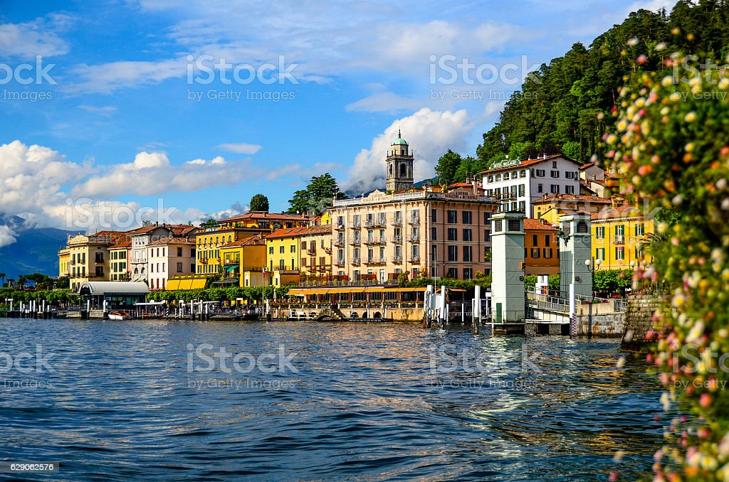 Bellagio shore from public park at lake como, italy stock photo