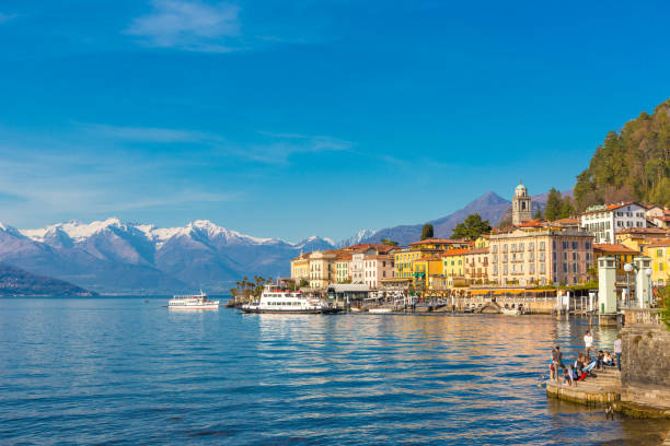 Bellagio small village on Lake Como, in Lombardy region, north Italy stock photo