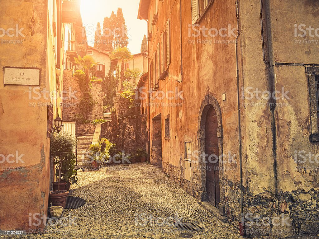 Bellagio town against sunlight, Italy royalty-free stock photo
