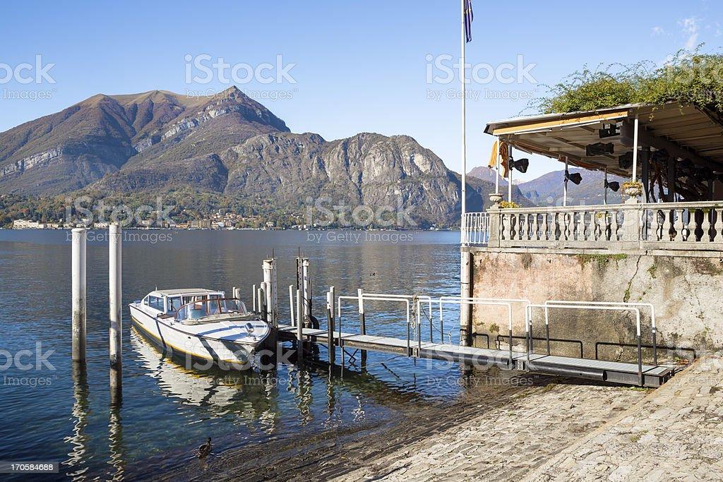 Bellagio wharf and boat, Lake Como - Lombardy Italy royalty-free stock photo