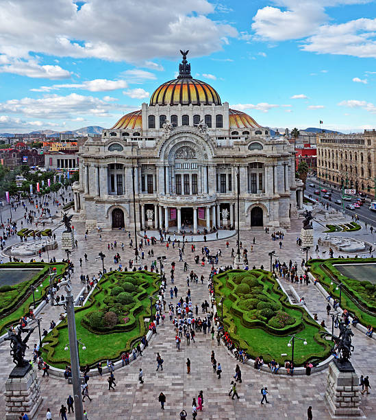 Bellas Artes (Palace of fine art) in Mexico City Mexico City, Mexico - November 4, 2016: Bellas Artes (Palace of fine art) in Mexico City. Top view. fine art statue stock pictures, royalty-free photos & images