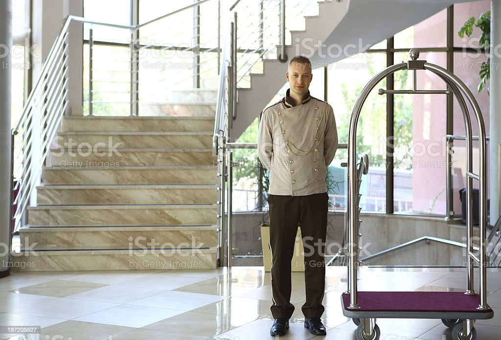 Bellboy in a hotel. stock photo