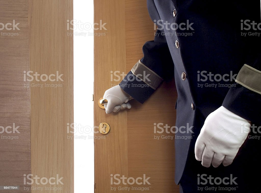 Bellboy in hotel stock photo