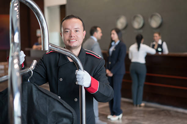 Bellboy working at the hotel stock photo