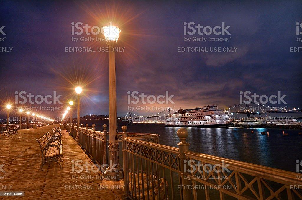 Belle Boat mooring at Pier 7 at Night, San Francisco stock photo