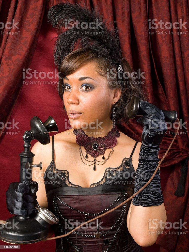 Belle Epoque Scandalous Phone Call stock photo