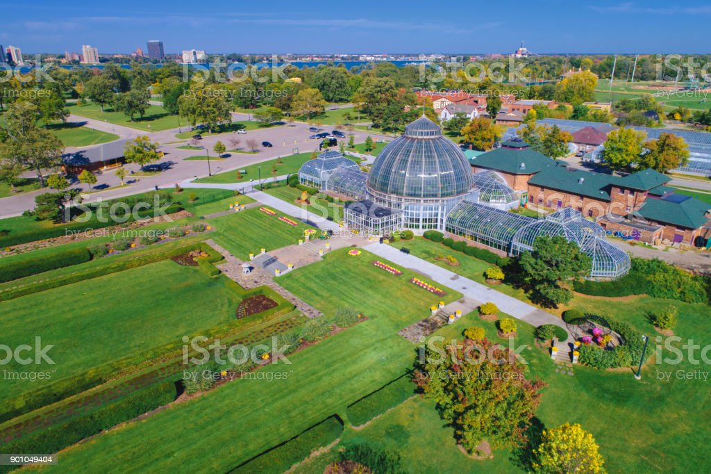 Belle Isle Aerial Detroit stock photo