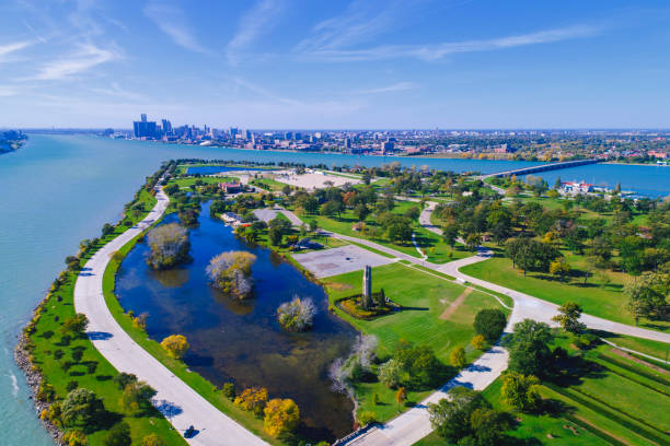 Belle Isle Aerial Detroit Belle Isle Aerial Detroit detroit michigan stock pictures, royalty-free photos & images