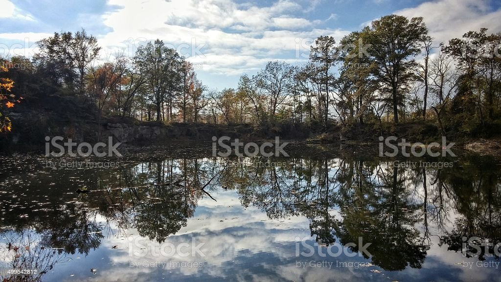 Belle Isle Quarry Pond Silhouette Reflection, Richmond, Virginia stock photo
