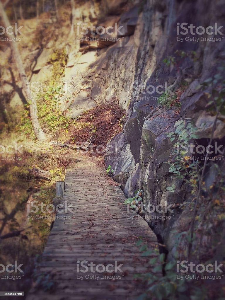 Belle Isle Quarry Pond Wooden Bridge, Rock Wall, Richmond, Virginia stock photo