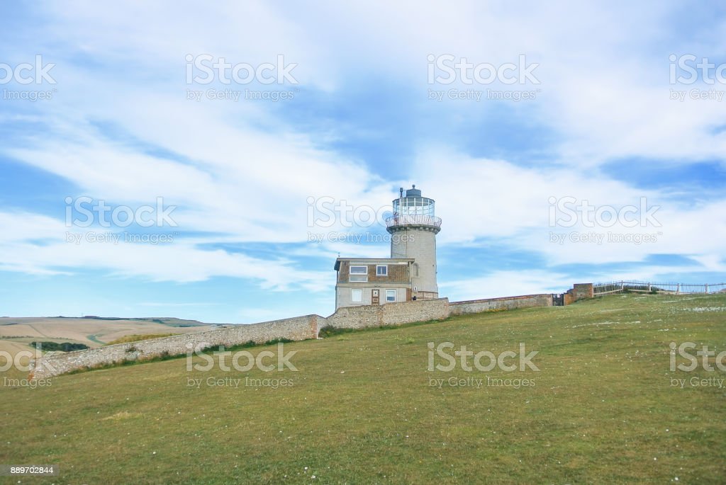 Belle Tout Lighthouse on summer cloudy day, Seven Sisters country park, Eastblurne, East Sussex, England, UK. stock photo